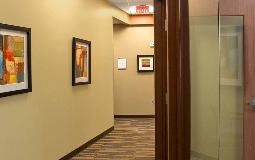 Hallway leading to dental exam room