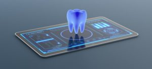 blue digital image of tooth
